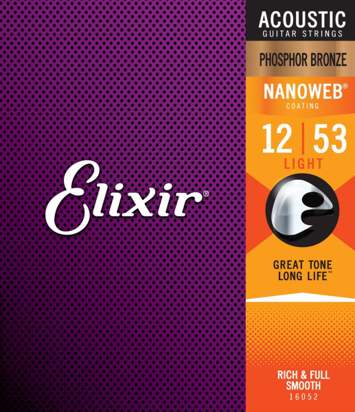 Elixir NanoWeb Phosphor Bronze 16052 Light 012-053