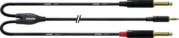 Cordial CFY 1,5 WPP Miniklinke Stereo - 2x Klinkenstecker mono 6,3mm