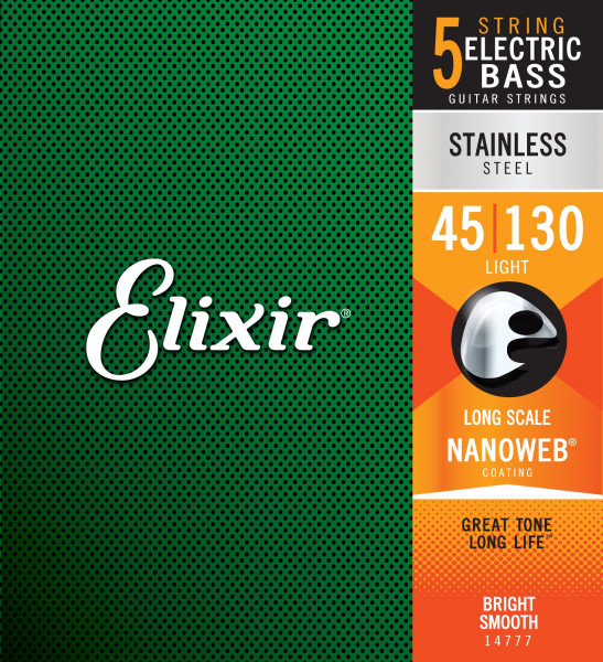 Elixir 14777 Stainless Steel Light 5-String 045-130 E-Bass Saiten