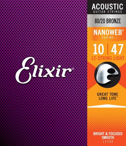 Elixir NanoWeb Bronze 11152 Light 12-String 010-047