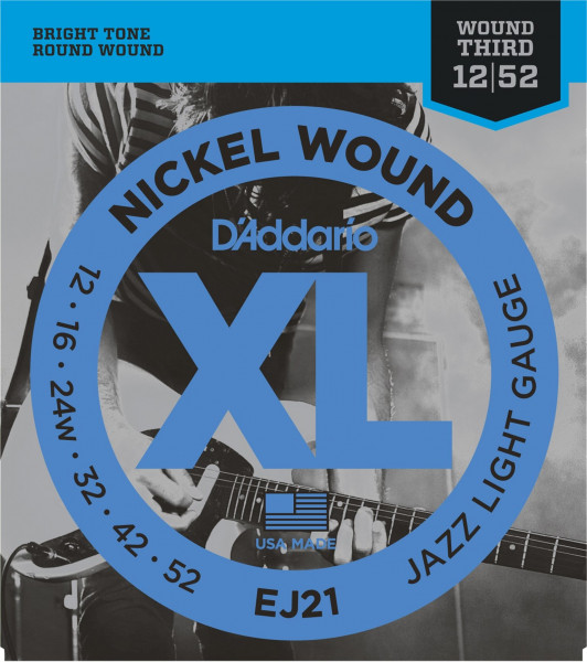 D Addario EJ 21 012-052 Nickel Wound Jazz Light